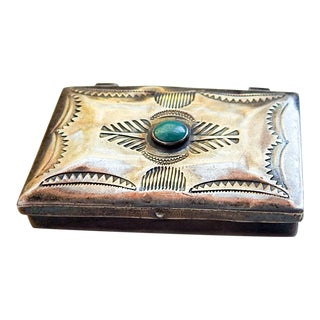 Sterling Silver & Turquoise Stamp or Pill Box For Sale