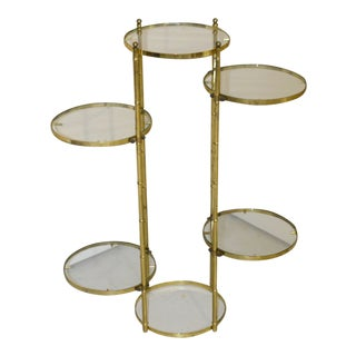 5-Tier Brass Tone Metal & Glass Plant Stand For Sale