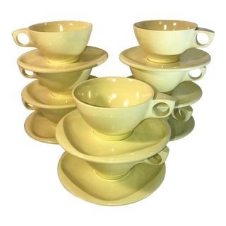 Vintage Boontonware 1960s Melamine Belle Yellow Coffee Cups and Saucers - 16 Piece Set For Sale
