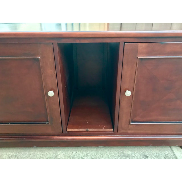 Solid Mahogany Contemporary Entertainment Console - Image 9 of 10