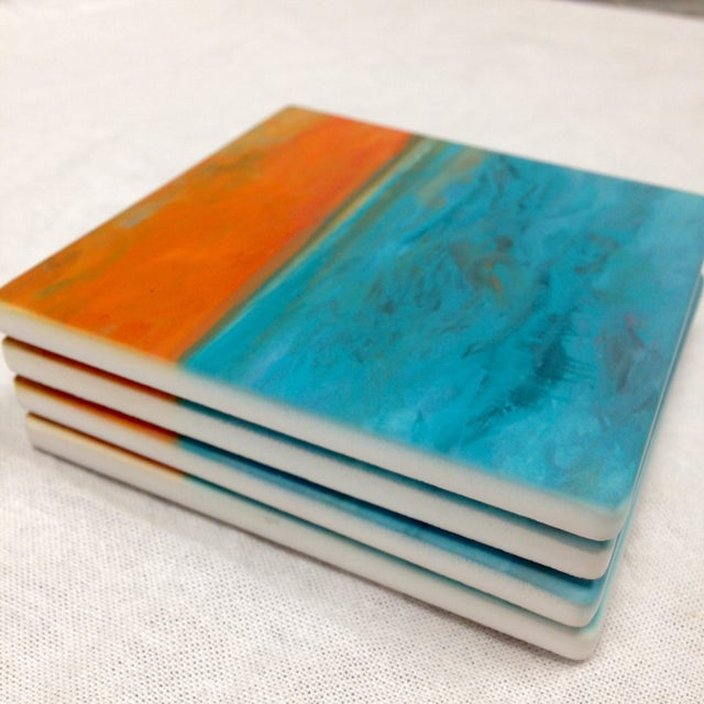 "Ocean Inspired Coasters, ""DayDream"" Sandstone - 4 - Image 4 of 6"