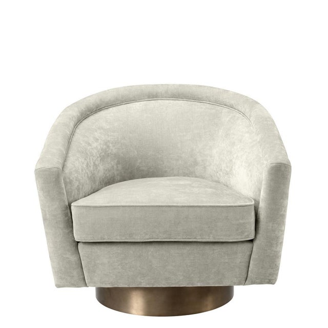 Contemporary Eichholtz Catene Beige Swivel Chair For Sale - Image 3 of 5