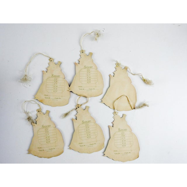 Art Deco 1930's Sweethearts Christmas Diecut Bridge Tally Cards - Set of 6 For Sale - Image 3 of 4