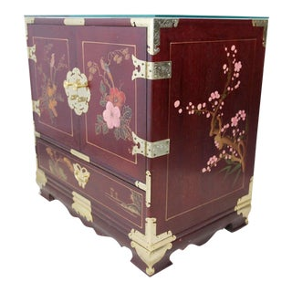 Hand Painted Petite Wood Chest of Drawers For Sale