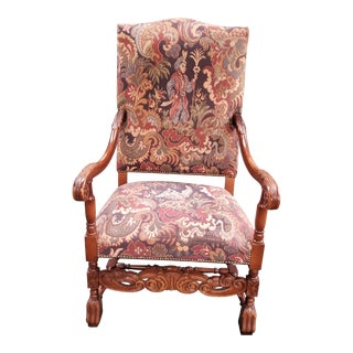 Antique Walnut Chair in the Louis XIII Style For Sale