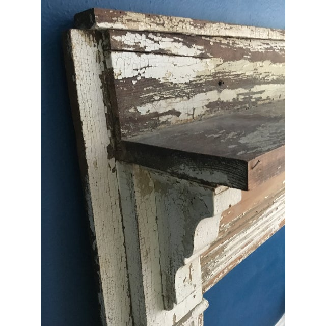 Wood Antique Shabby Chic Wooden Mantel with Shelf For Sale - Image 7 of 11