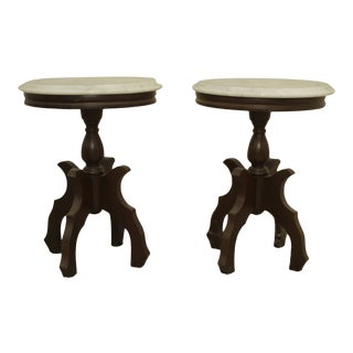 1950s Victorian Pedestal Tables - a Pair For Sale
