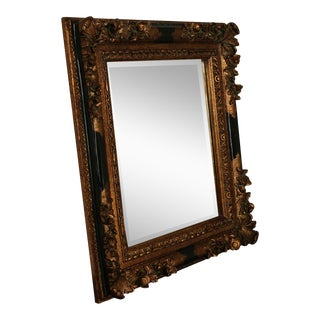 Quality Black and Gold French Renaissance Style Carved Frame Beveled Wall Mirror For Sale