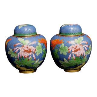 Chinese Bronze Cloisonne Enamel Jars - A Pair