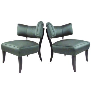Stylish Pair of Vintage Art Deco Slipper Chairs For Sale