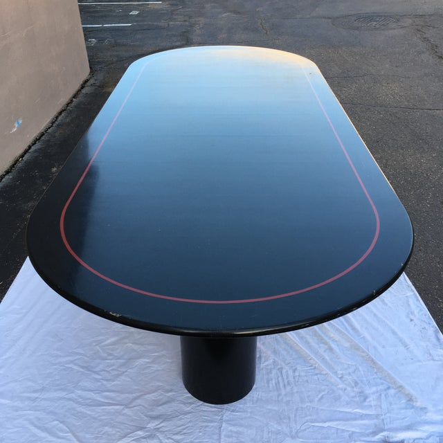 1970s Mid-Century Modern Black Lacquered Elliptical Dining Table Manner of Knoll For Sale - Image 5 of 13