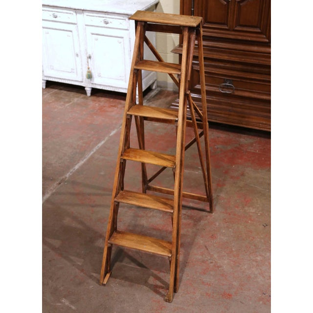 Late 19th Century 19th Century French Napoleon III Carved Walnut Folding Library Six-Step Ladder For Sale - Image 5 of 11