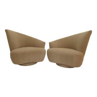 1990s Vintage Vladimir Kagan Bilbao Swivel Chairs- A Pair For Sale