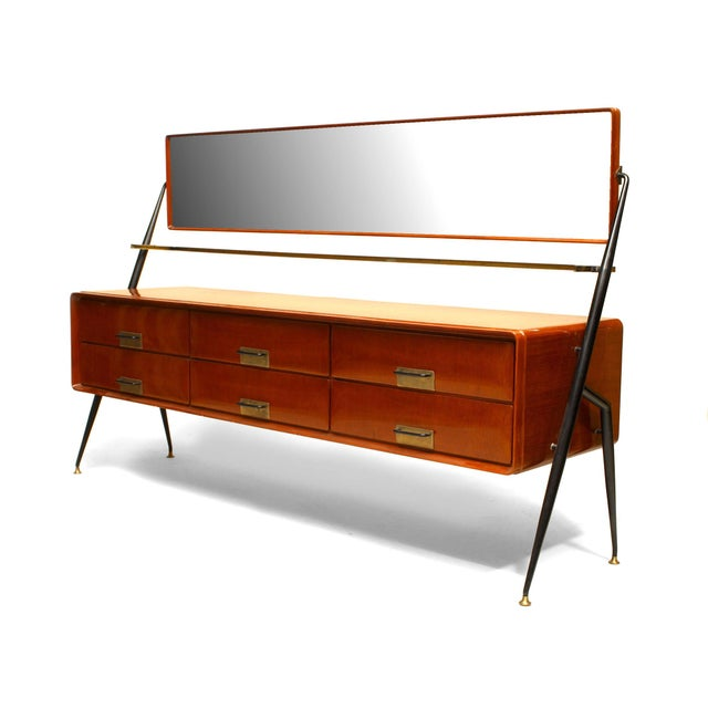 Silvio Cavatorta Italian 1960s Mahogany Chest With Bevelled Glass Mirror For Sale - Image 4 of 4