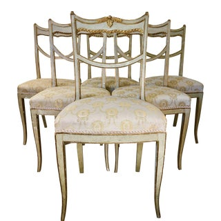 18th Century Italian Painted, Carved, and Gilded Side Chairs - Set of 6 For Sale
