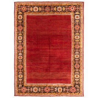 Antique Sultanabad Red, Gold and Black European-Style Rug For Sale