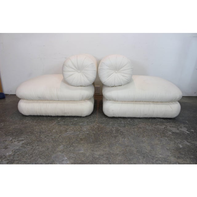 Pair ofand Sculptural Roll Back Slipper Chairs and Ottomans For Sale In Dallas - Image 6 of 8