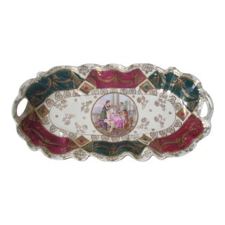 German Baroque Green and Red Painted Crudite' Tray For Sale