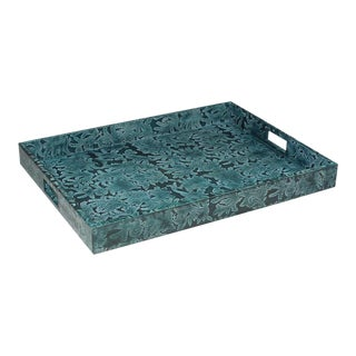 Sarried Ltd Blue Botanical Leather Tray
