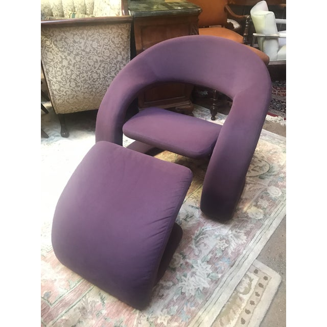 """Mid Century Modern Jaymar Memphis Sculptural Cantilever Lounge and Ottoman in Purple Fabric Ottoman H 16"""" W 20"""" D 17"""""""