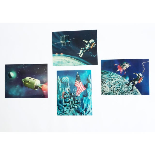 Blue Lenticular Animation Moon Landing Astronaut Prints From 1966 - Set of 4 For Sale - Image 8 of 12