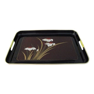 Mid-Century Japanese Lacquerware Floral Tray For Sale