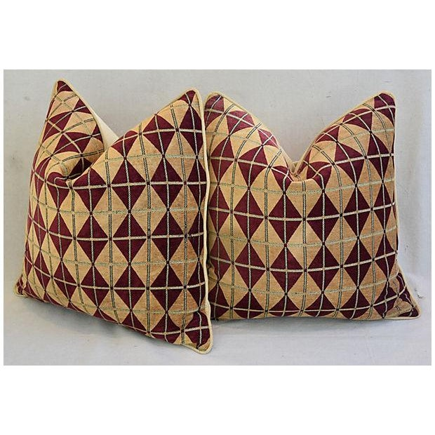 """Cotton Diamond Chenille & Velvet Feather/Down Pillows 24"""" Square - Pair For Sale - Image 7 of 14"""