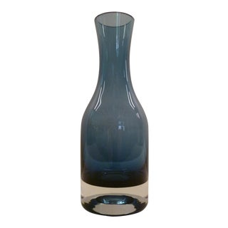 Riihimaki Lasi Oy Finland Mid-Century Modern Blue Glass Vase For Sale