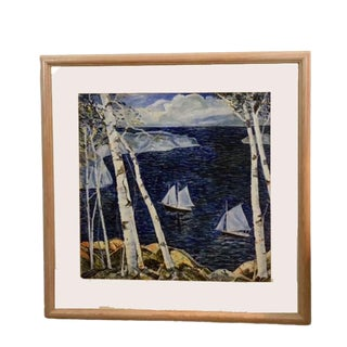 1942 Vintage Pad Berry Original Sailboats Watercolor Signed Painting For Sale