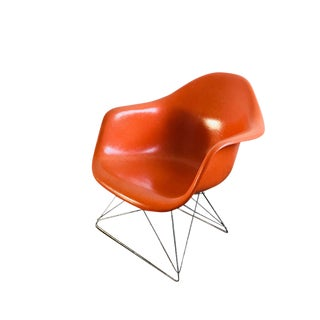 1970s Charles & Ray Eames in Orange Lar Fibreglass Chair For Sale