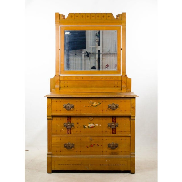 Arts and Crafts Style Floral Motif Dresser With Mirror For Sale - Image 13 of 13