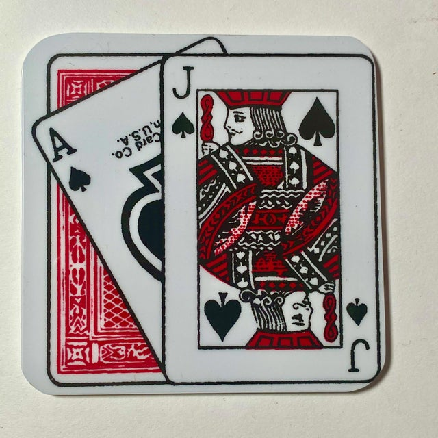 1960s Vintage Playing Card Ice Bucket & Coaster Set of 7 For Sale - Image 5 of 6