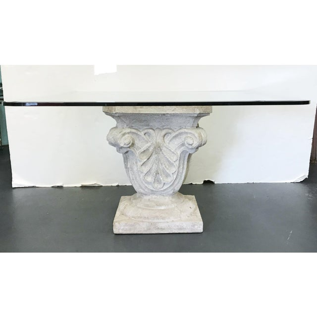 Large vintage dining table with faux stone base made of painted plaster and thick square beveled glass top. Made in Italy,...
