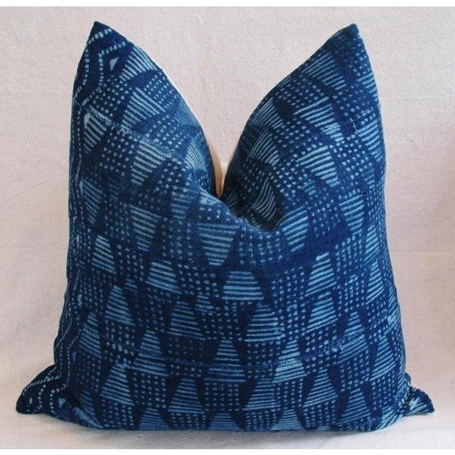 Boho Chic Indigo African Mali Mud Cloth Tribal Pillows - a Pair - Image 5 of 11