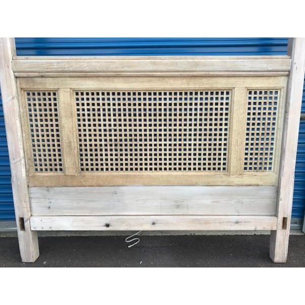 Antique Wood Square Lattice 4 Post King Headboard & Footboard For Sale - Image 5 of 11