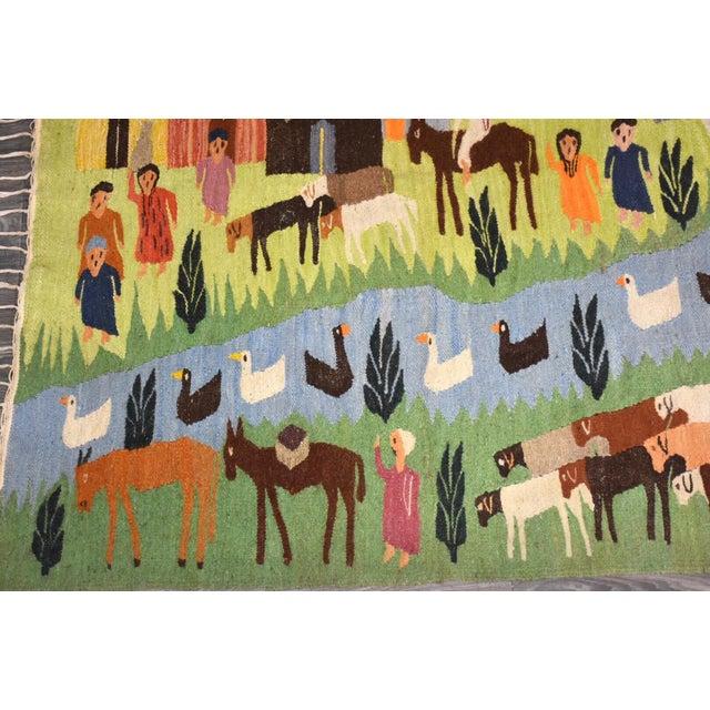 Rug & Kilim Handmade Wool Kilim Tapestry Rug For Sale - Image 4 of 10