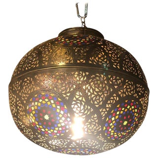 Moroccan Ball-Shaped Copper and Multi-Color Glass Pendant Lighting For Sale