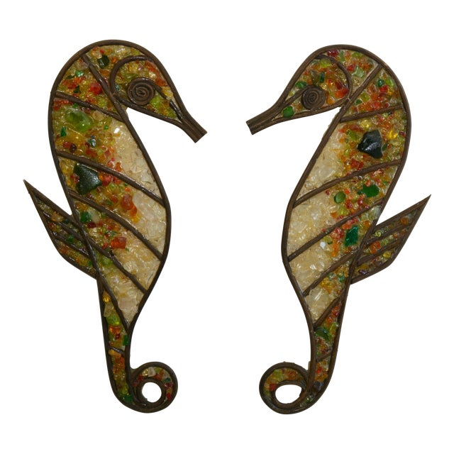 Mid Century Seahorse Wall Hangings - a Pair For Sale