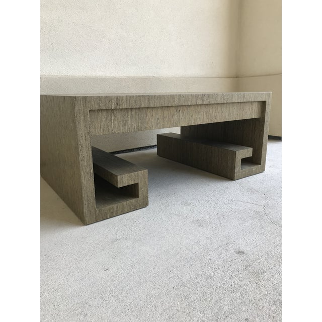 Monumental grasscloth greek key coffee table! Very rare! In amazing condition considering it's grasscloth material. Has...