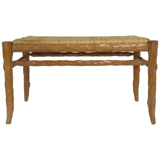 1970s Faux Bois Wood Bench With Rush Seat For Sale