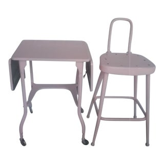 Vintage Pink Typewritter Table and Pink Stool For Sale