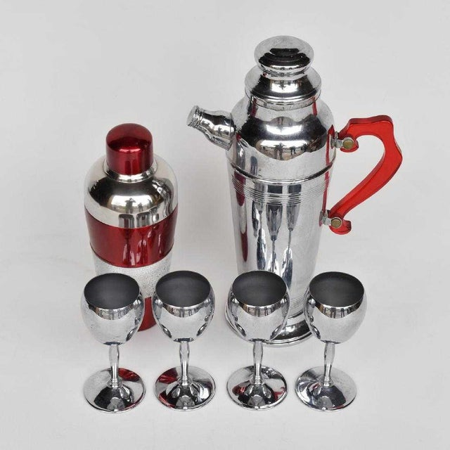 Rare Bakelite stainless steel and lucite Art Deco cocktail shaker, decanter and four cups. If you love Mad Men, you'll...
