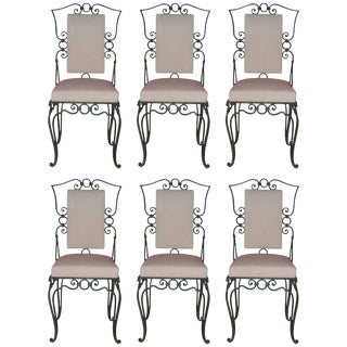 1960 French Iron Chairs in the Style of Jean-Charles Moreux - Set of 6