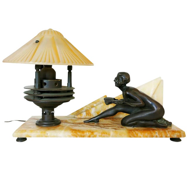Art Deco Styled Italian Marble Desk Lamp with Bronze Nude For Sale