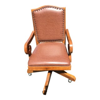 Studded Brown Solid Wood Office Chair For Sale