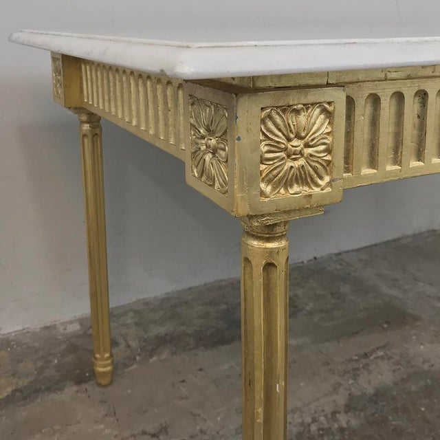Wood Antique French Louis XVI Gilded Marble Top Coffee Table For Sale - Image 7 of 11