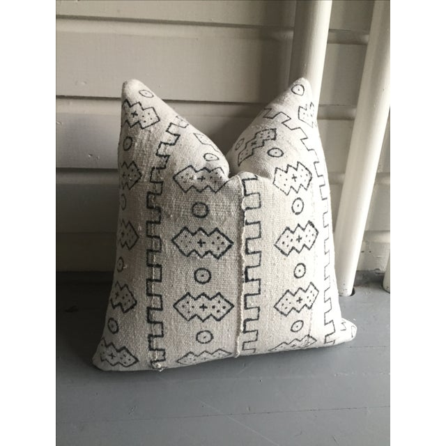 Boho Chic White African Mudcloth Pillow Cover - Image 8 of 10