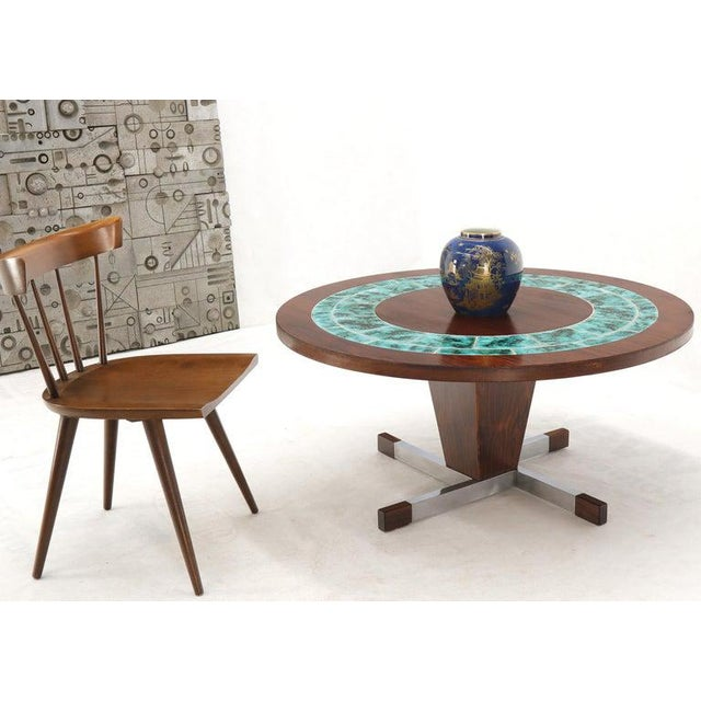 Mid-Century Modern Art Tile Top Rosewood Cone Shape Base Round Coffee Table For Sale - Image 3 of 10