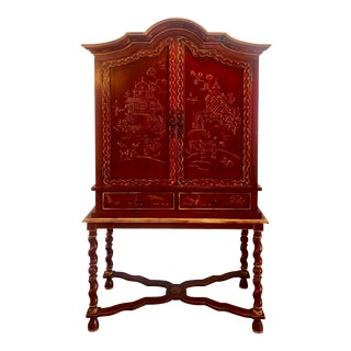 1990s Vintage Red Lacquered Chinoiserie Asian Hand-Painted Cabinet For Sale