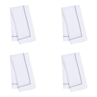 White Linen Dinner Napkins with Navy Contrast Hemstitch - Set of 4 For Sale